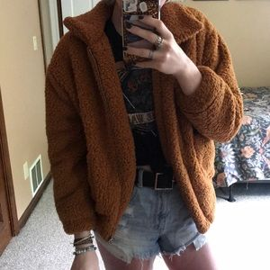 Jackets & Blazers - NWOT Burnt Orange Teddy Jacket